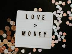 Image of a sign saying Love and Money